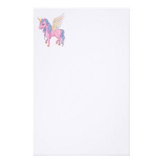 El unicornio lindo con el arco iris se va volando  papeleria