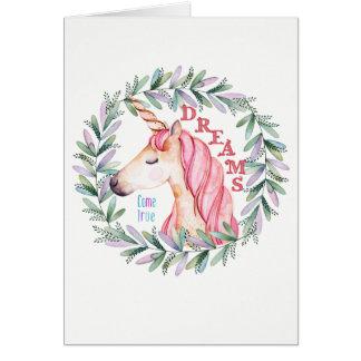 """El unicornio """"sueños viene"""" tarjeta de"""