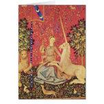 El unicornio y la imagen medieval virginal de la t tarjeton