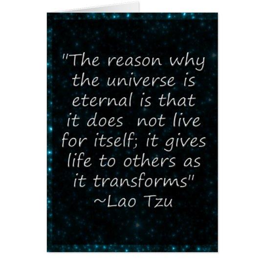 El universo de la cita de Tzu del Lao da la Tarjeta De Felicitación