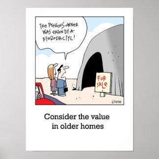 El valor de más viejos hogares póster