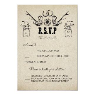 El vaquero calza el país RSVP que se casa rústico Invitación 8,9 X 12,7 Cm