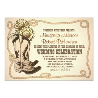el vaquero calza invitaciones rústicas del boda invitación 12,7 x 17,8 cm