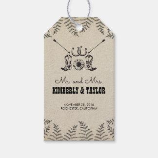 El vaquero calza Sr. y a la señora del boda del Etiquetas Para Regalos