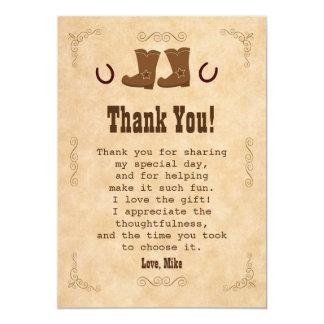 El vaquero le agradece cardar el vintage invitación 12,7 x 17,8 cm