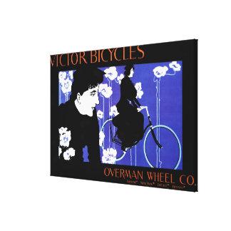 El vencedor monta en bicicleta el poster del promo impresiones en lienzo estiradas