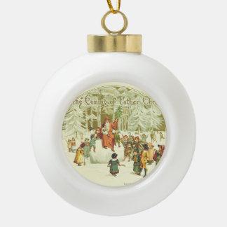 El venir del navidad del padre adorno de cerámica en forma de bola