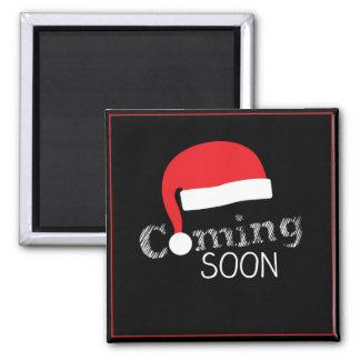 El venir pronto imán cuadrado de Papá Noel de la