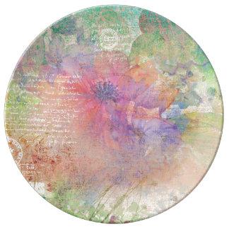 El verano florece la placa decorativa de la plato de porcelana