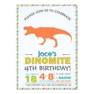 El verde anaranjado del dinosaurio moderno de invitación 12,7 x 17,8 cm