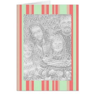 el verde anaranjado retro raya el marco de la foto tarjeta de felicitación