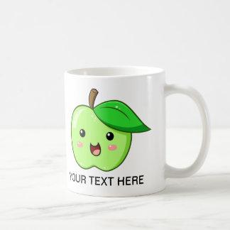 El verde Apple de la fruta de Kawaii asalta Tazas De Café