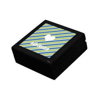 El verde azul raya la caja elegante de la baratija joyero cuadrado pequeño