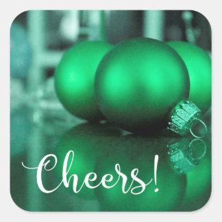 El verde de la tipografía de las alegrías entonó pegatina cuadrada