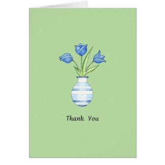 El verde de los tulipanes azules le agradece tarje tarjetas