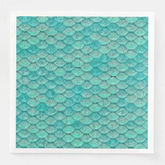 El verde de mar de la sirena escala la servilleta servilleta desechable