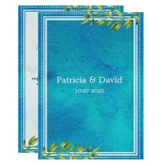 El verde de moda deja el boda azul de la acuarela invitación 12,7 x 17,8 cm
