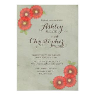 El verde de musgo con rojo florece la acuarela invitación 12,7 x 17,8 cm