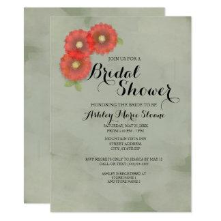 El verde de musgo con rojo florece la ducha invitación 11,4 x 15,8 cm
