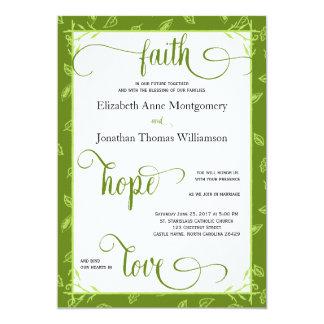 El verde deja la invitación de boda cristiana