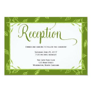 El verde deja la tarjeta de la recepción nupcial invitación 8,9 x 12,7 cm