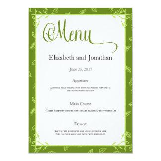 El verde deja la tarjeta del menú de la recepción invitación 12,7 x 17,8 cm