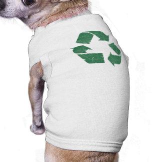 El verde del vintage recicla la muestra camiseta sin mangas para perro