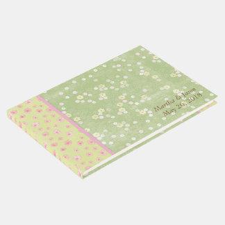 El verde florece el libro de visitas del boda del