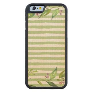 El verde intrépido del arte de la acuarela raya funda de iPhone 6 bumper arce