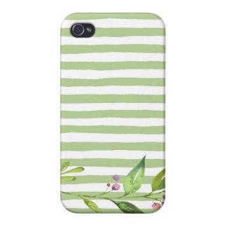El verde intrépido del arte de la acuarela raya iPhone 4/4S carcasa