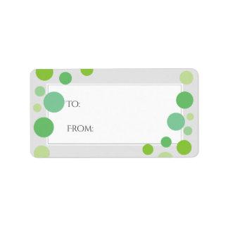 El verde moderno puntea neutral del día de fiesta etiqueta de dirección