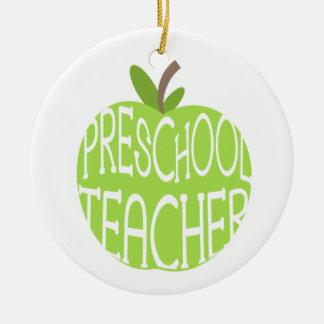 El verde preescolar Apple del profesor adorna Ornaments Para Arbol De Navidad