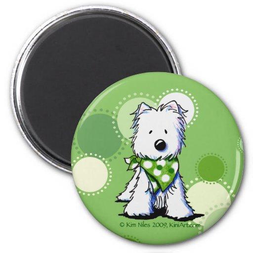 El verde puntea el imán del perro de Westie