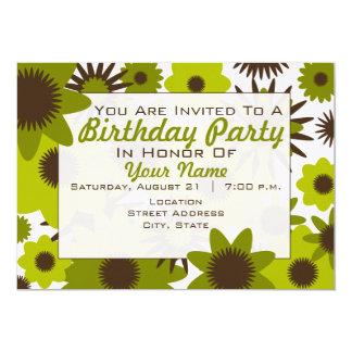 El verde retro florece la invitación de la fiesta