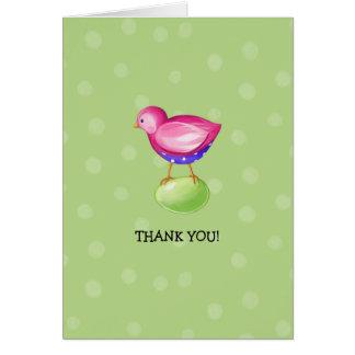El verde rosado del pájaro le agradece tarjeta de