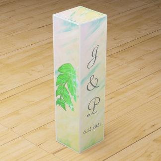 El verde tropical deja la caja del vino del