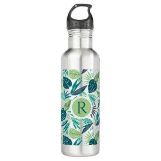 El verde tropical hojea monograma inconsútil del botella de agua