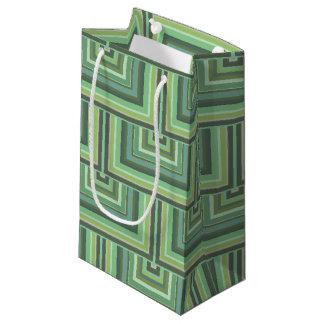 El verde verde oliva raya el modelo cuadrado de bolsa de regalo pequeña