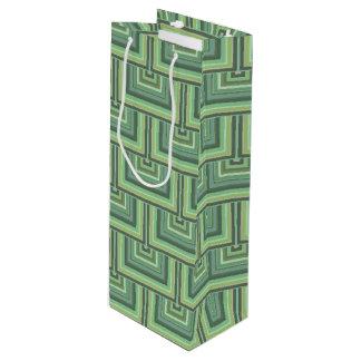 El verde verde oliva raya el modelo cuadrado de bolsa para vino