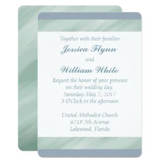 El verde veteado y el boda azul polvoriento invitación 12,7 x 17,8 cm
