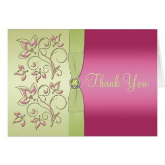 El verde y el rosa le agradecen tarjeta de nota