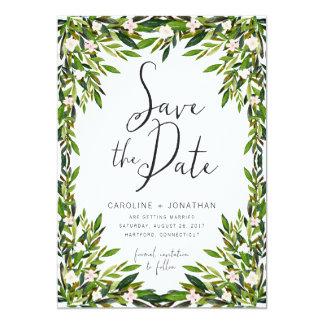 El verdor ahorra la tarjeta de fecha invitación 12,7 x 17,8 cm
