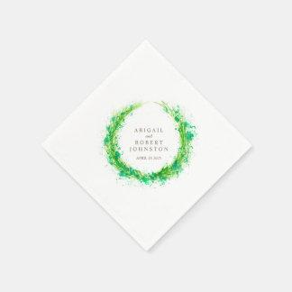 El verdor del boda enrruella servilletas del arte servilleta de papel