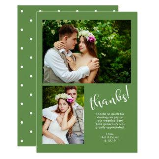 El verdor elegante el | boda de dos fotos le invitación 12,7 x 17,8 cm