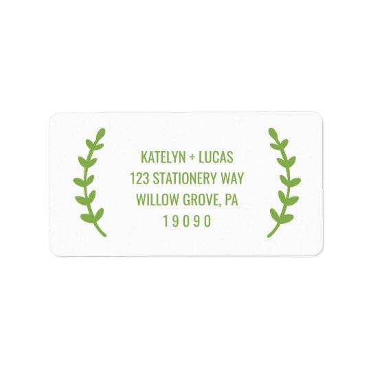 El verdor elegante enrruella el boda etiquetas de dirección