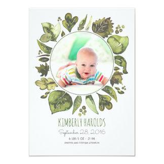 El verdor enrruella nacimiento recién nacido invitación 12,7 x 17,8 cm