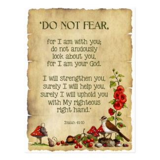 El verso de la biblia, 41:10 de Isaías, no teme, a Postal
