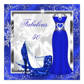 El vestido fabuloso de la plata del azul real de invitación 13,3 cm x 13,3cm