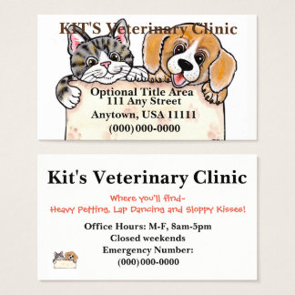 El veterinario acaricia la tarjeta de visita del