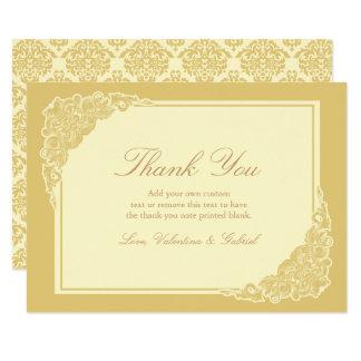 El Victorian, elegante, oro le agradece las Invitación 8,9 X 12,7 Cm